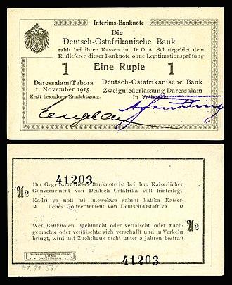 German East African rupie - Image: GEA 9Ab Deutsch Ostafrikanische Bank 1 Rupie (1915)