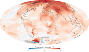 Polar amplification - NASA GISS temperature trend 2000–2009, showing strong arctic amplification.