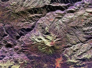 Galeras - Space radar image of Galeras Volcano. City of Pasto at bottom