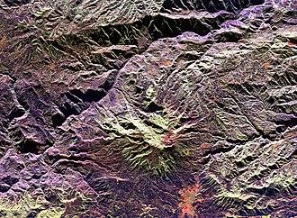 Galeras - Space radar image of Galeras Volcano. City of Pasto at bottom