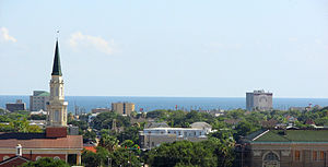 Skyline of Galveston, Texas, looking south tow...