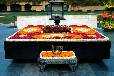 The Rajghat, the final resting place of Mahatma Gandhi. Gandhi Memorial.jpg