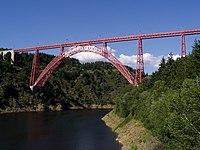 A truss arch bridge designed by Gustav Eiffel employing an inverted catenary arch