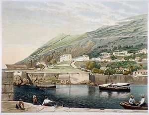Rosia Bay - View of South Barracks from Rosia Bay by Thomas Colman Dibdin.