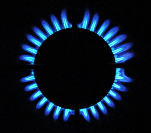 Gas stove blue flames