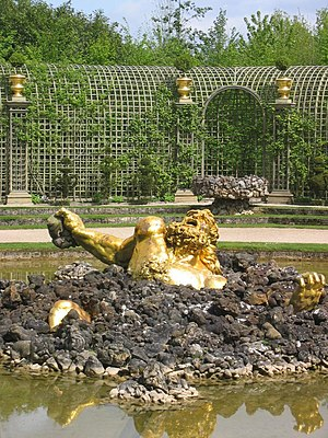 Gaspard and Balthazard Marsy - Gaspard Marsy's gilt-bronze figure of the giant Enceladus from Greek mythology (the Bassin d'Encelade; 1675-1677), at Versailles, France.