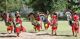 Banyumasan people - Ebeg or kuda lumping dance being performed.