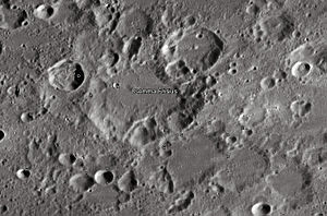 """Gemma Frisius (crater) - Gemma Frisius crater and its satellite craters taken from Earth in 2012 at the University of Hertfordshire's Bayfordbury Observatory with the telescopes Meade LX200 14"""" and Lumenera Skynyx 2-1"""