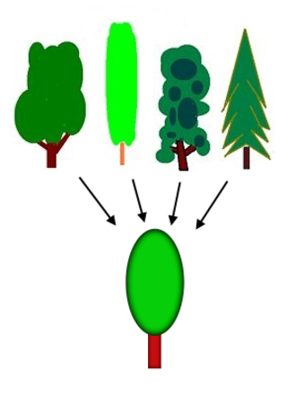 Concept - When the mind makes a generalization such as the concept of tree, it extracts similarities from numerous examples; the simplification enables higher-level thinking.