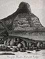 Geology; an outcrop of basalt columns by the sea. Engraving Wellcome V0025116.jpg