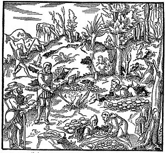 De re metallica - Prospecting, a woodcut from the book