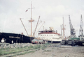 German cargo ship MV Vogelsberg when unloading bags and general cargo in the port of Freetown - 1958.png