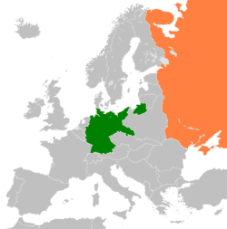 Map indicating locations of Germany and Soviet Union