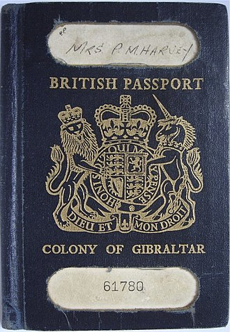 British passport (Gibraltar) - Cover of an older-style Gibraltar-issued British passport from the 1970s