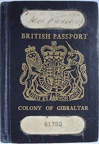 British passport (Gibraltar) - Cover of an older-style Gibraltar-issued British passport
