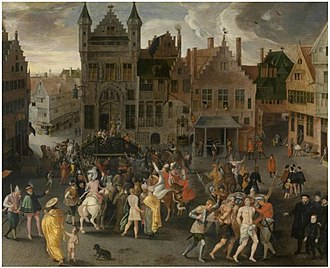 Gillis Mostaert - Passion play on the main square in Antwerp