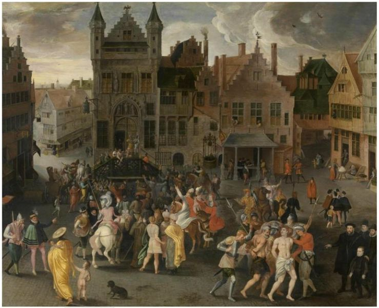 File:Gillis Mostaert I - Passion play on the city square in Antwerp.jpg