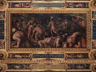 Radagaisus - Giorgio Vasari, Defeat of Radagaiso below Fiesole, 1563-1565