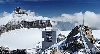 Scex Rouge - View from the summit: Oldenhorn and Tsanfleuron Glacier (background), Mario Botta station and lower summit (foreground)