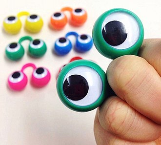 Oobi (TV series) - Plastic hand puppet eyes, like those shown here, were given to customers at Oobi-themed events.
