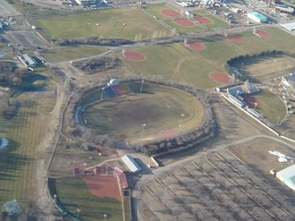 Saskatoon Minor Football Field - Aerial view of SMF Field (Gordie Howe Bowl) in 2005