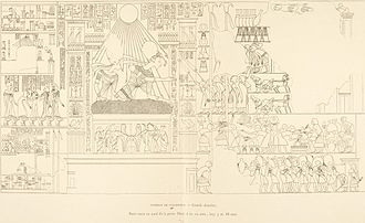 Amarna Tomb 7 - An award scene with Akhenaten and Nefertiti from the tomb of Parennefer