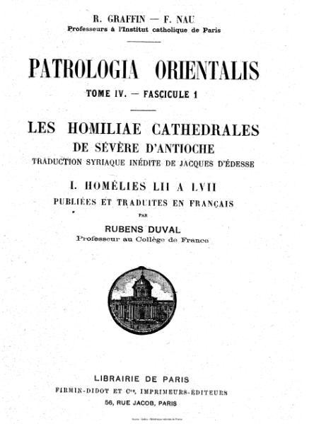 File:Graffin - Nau - Patrologia orientalis, tome 4, fascicule 1 - Les Homiliae Cathedrales de Sévère d'Antioche.djvu