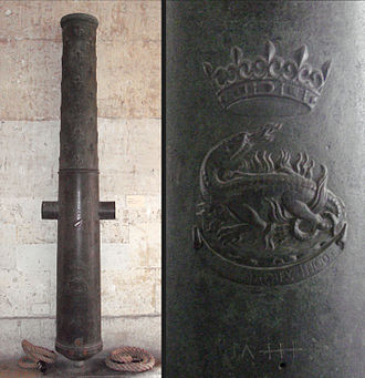 Grand culverin of Francis I, with his emblem and motto. A gift to his Ottoman allies recovered in Algiers in 1830. Musee de l'Armee. Grand culverin of Francis I 140mm 307cm Algiers recovered in 1830.jpg