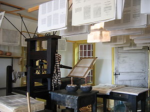 E. B. Grandin - A printing press inside the restored print shop