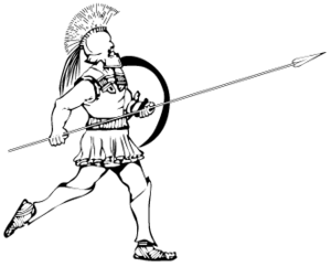 A hoplite armed with an aspis and a doru