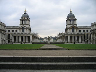 English Baroque - Greenwich Hospital (now occupied by the Royal Naval College, Greenwich): Sir Christopher Wren, 1694.