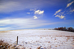 A snowy field in Greenwood Township