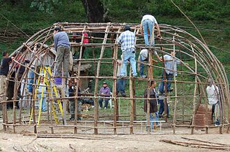 Kickapoo people - Kickapoo people building a Winter House in the town of Nacimiento Coahuila, México, 2008