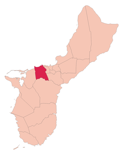 Location of Asan within the Territory of Guam.