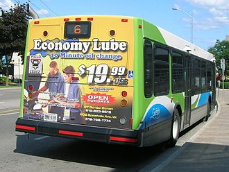 Bus advertising - The back of a bus with a surface advert