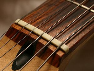 Nut (string instrument) - Image: Guitar nut