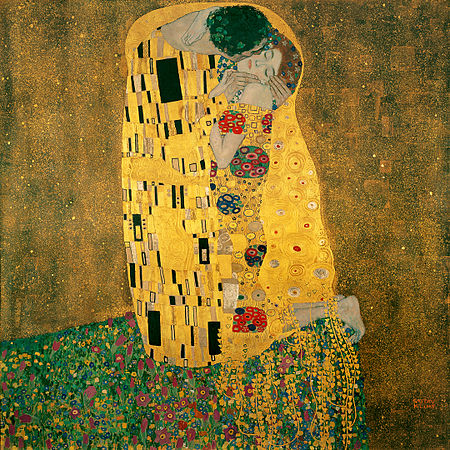 Paint Images on The Kiss   Oil And Gold Leaf On Canvas  1907   1908    Sterreichische