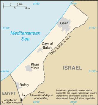 Karta Pojasa Gaze s označenim gradom Gazom