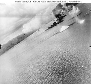 Japanese cruiser Haguro - USAAF gun camera footage of Haguro under attack at Rabaul