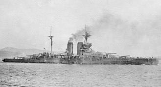 HMS Queen Elizabeth (1913) - Queen Elizabeth in her original configuration at Lemnos, 1915
