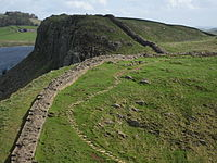 Hadrian's Wall and path, section near Crag Lough.jpg