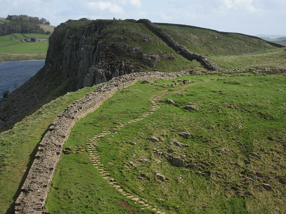 Hadrian's Wall and path, section near Crag Lough