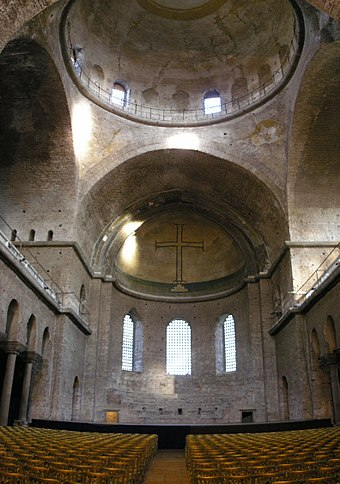 The apse of the church with cross at Hagia Irene. Nearly all the decorative surfaces in the church have been lost.