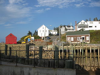 Hall's Harbour, Nova Scotia - Road into village and Parker's Store