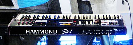 The Hammond SK1 included emulations of electric pianos and other keyboard sounds in addition to organ. Hammond SK1 (rear).jpg