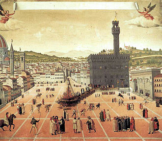 Tuscany - Hanging and burning of Girolamo Savonarola in Piazza della Signoria in Florence 1498 - Painting depicting Renaissance Florence