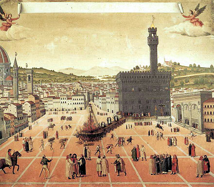 Girolamo Savonarola being burnt at the stake in 1498. The brooding Palazzo Vecchio is at centre right. Hanging and burning of Girolamo Savonarola in Florence.jpg