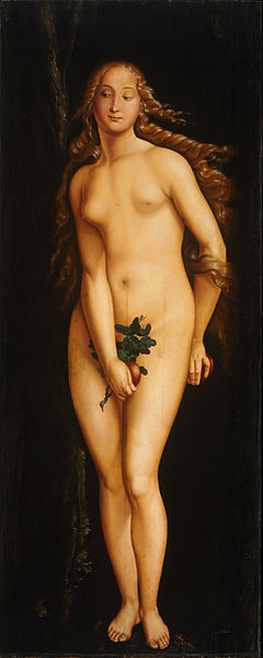 baldung, baldung grien, eve, 1524, naked, young woman, smiling, looking, amused, flirty