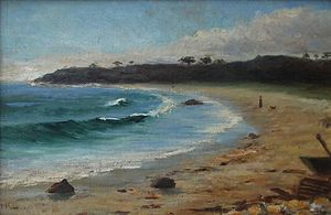 "Helen M. Knowlton - Beach scene, oil on board, 11 x 17"", owned at one time by Essex Institute."