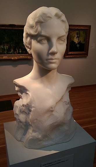 "Helen Wills - """"Helen of California"""", a portrait sculpture by Haig Patigian, on display at the de Young Museum in San Francisco"
